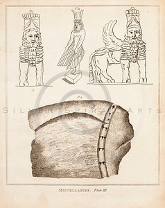Vintage 1700s Sepia Illustration of Ancient Egyptian Designs - FRAGMENTS OF THE HOLY SCRIPTURES by Calmet.