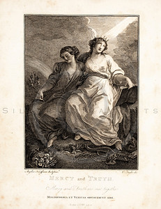 Vintage 1700s Sepia Illustration of Women - FRAGMENTS OF THE HOLY SCRIPTURES by Calmet.