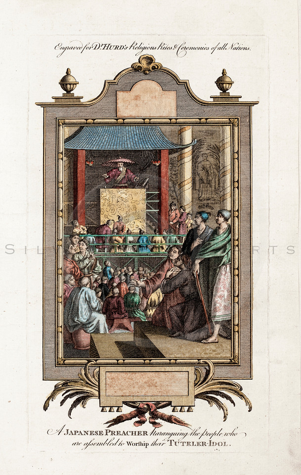 Vintage 1600s Hand Colored Copper Engraving Illustration of a Japanese Preacher with Decorative Frame from SPIEGEL VAN DE OUDEN by Jacob Cats in Holland.  The natural patina, age-toning, imperfections, and old paper antiquing of this vintage 17th century illustration are preserved in this image.