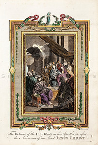 Vintage 1700s Color Illustration of the Holy Ghost with Decorative Frame from DR. WRIGHT'S NEW AND COMPLETE LIFE OF CHRIST by Birdsall.  The natural patina, age-toning, imperfections, and old paper antiquing of this vintage 18th century illustration are preserved in this image.