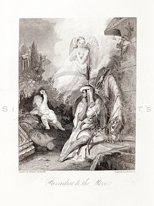 Vintage 1800s Engraving Illustration of Angels in Paradise.  The natural patina, age-toning, imperfections, and old paper antiquing of this vintage 19th century illustration are preserved in this image.
