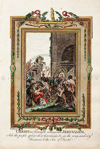 Vintage 1700s Color Illustration of Jesus Christ Riding into Jerusalem with Decorative Frame from DR. WRIGHT'S NEW AND COMPLETE LIFE OF CHRIST by Birdsall.  The natural patina, age-toning, imperfections, and old paper antiquing of this vintage 18th century illustration are preserved in this image.