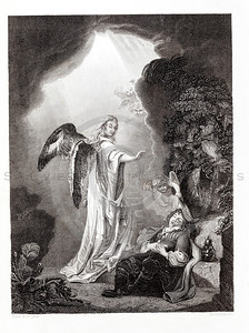 Vintage 1800s Engraving Illustration of Sleeping Man with Angel.  The natural patina, age-toning, imperfections, and old paper antiquing of this vintage 19th century illustration are preserved in this image.