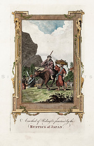 Vintage 1600s Hand Colored Copper Engraving Illustration of Japanese Farm Scene with Decorative Frame from SPIEGEL VAN DE OUDEN by Jacob Cats in Holland.  The natural patina, age-toning, imperfections, and old paper antiquing of this vintage 17th century illustration are preserved in this image.