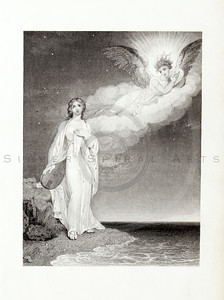 Vintage 1800s Engraving Illustration of Woman with Angel.  The natural patina, age-toning, imperfections, and old paper antiquing of this vintage 19th century illustration are preserved in this image.
