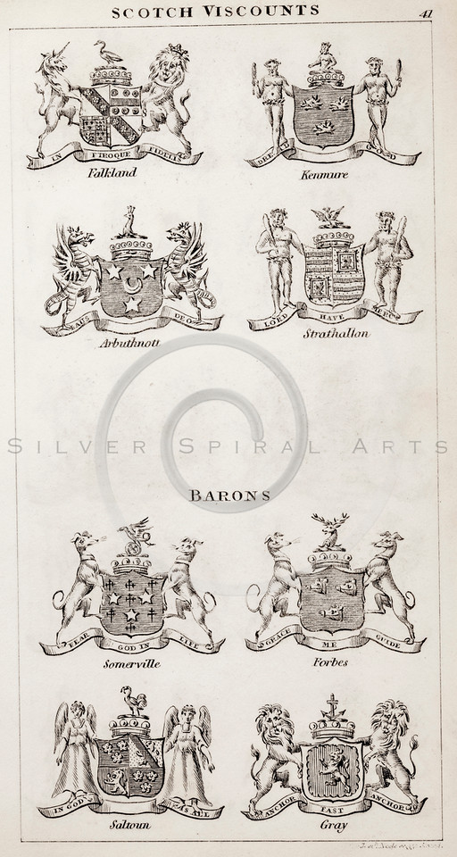 Vintage 1800s Sepia Illustration of Scottish Viscounts Coats of Arms from THE PRESENT PEERAGE OF THE UNITED KINGDOM by James Ridgway in London.  The natural patina, age-toning, imperfections, and old paper antiquing of this vintage 19th century illustration are preserved in this image.