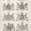 Vintage 1800s Sepia Copper Engraving Illustration of British Dukes Coats of Arms from THE PRESENT PEERAGE OF THE UNITED KINGDOM by James Ridgway in London.  The natural patina, age-toning, imperfections, and old paper antiquing of this vintage 19th century illustration are preserved in this image.