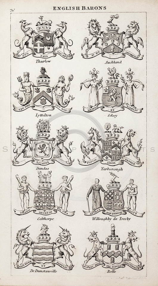Vintage 1800s Sepia Copper Engraving Illustration of British Barons Coats of Arms from THE PRESENT PEERAGE OF THE UNITED KINGDOM by James Ridgway in London.  The natural patina, age-toning, imperfections, and old paper antiquing of this vintage 19th century illustration are preserved in this image.