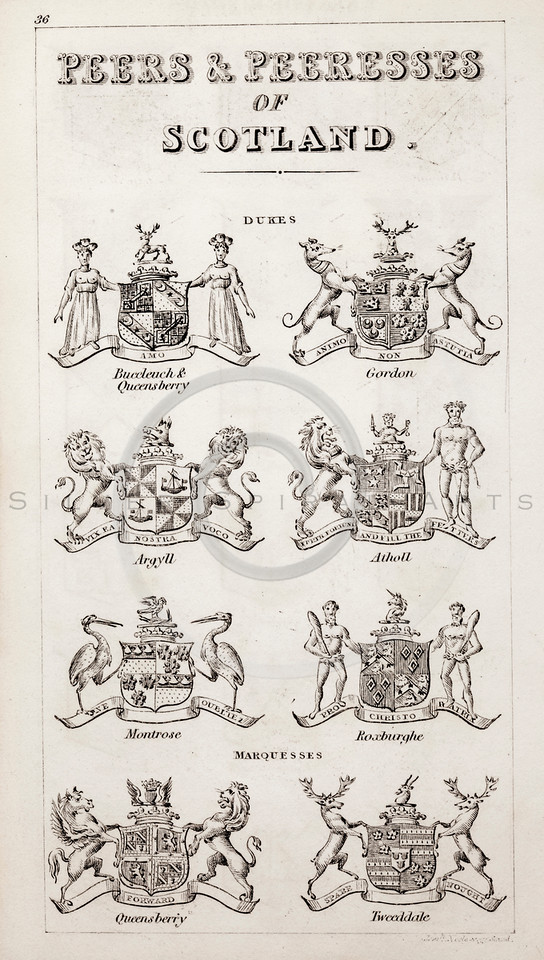 Vintage 1800s Sepia Illustration of Scottish Peers and Peeresses
