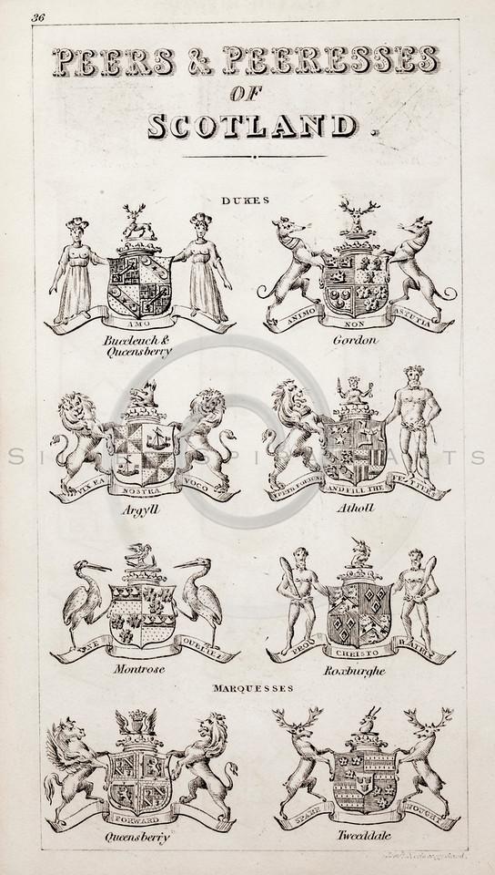 Vintage 1800s Sepia Illustration of Scottish Peers and Peeresses