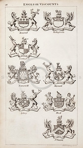 Vintage 1800s Sepia Copper Engraving Illustration of British Viscounts Coats of Arms from THE PRESENT PEERAGE OF THE UNITED KINGDOM by James Ridgway in London.  The natural patina, age-toning, imperfections, and old paper antiquing of this vintage 19th century illustration are preserved in this image.