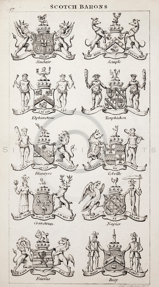 Vintage 1800s Sepia Illustration of Scottish Barons Coats of Arms from THE PRESENT PEERAGE OF THE UNITED KINGDOM by James Ridgway in London.  The natural patina, age-toning, imperfections, and old paper antiquing of this vintage 19th century illustration are preserved in this image.