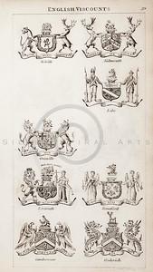 Vintage 1800s Sepia Copper Engraving Illustration of British Vis