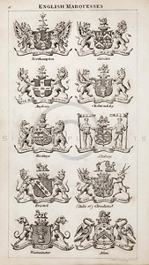 Vintage 1800s Sepia Copper Engraving Illustration of British Marquesses Coats of Arms from THE PRESENT PEERAGE OF THE UNITED KINGDOM by James Ridgway in London.  The natural patina, age-toning, imperfections, and old paper antiquing of this vintage 19th century illustration are preserved in this image.