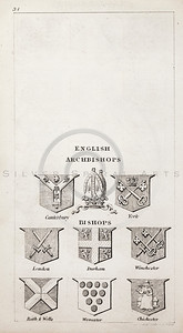 Vintage 1800s Sepia Copper Engraving Illustration of British Archbishops Coats of Arms from THE PRESENT PEERAGE OF THE UNITED KINGDOM by James Ridgway in London.  The natural patina, age-toning, imperfections, and old paper antiquing of this vintage 19th century illustration are preserved in this image.