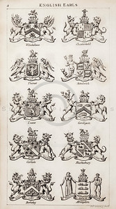 Vintage 1800s Sepia Copper Engraving Illustration of British Earls Coats of Arms from THE PRESENT PEERAGE OF THE UNITED KINGDOM by James Ridgway in London.  The natural patina, age-toning, imperfections, and old paper antiquing of this vintage 19th century illustration are preserved in this image.