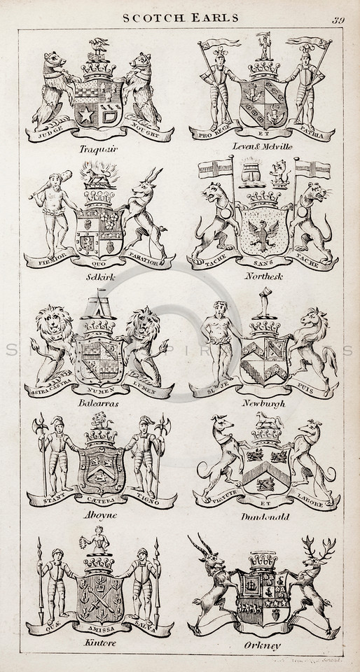 Vintage 1800s Sepia Illustration of Scottish Earls Coats of Arms from THE PRESENT PEERAGE OF THE UNITED KINGDOM by James Ridgway in London.  The natural patina, age-toning, imperfections, and old paper antiquing of this vintage 19th century illustration are preserved in this image.