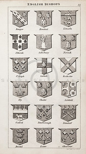 Vintage 1800s Sepia Copper Engraving Illustration of British Bishops Coats of Arms from THE PRESENT PEERAGE OF THE UNITED KINGDOM by James Ridgway in London.  The natural patina, age-toning, imperfections, and old paper antiquing of this vintage 19th century illustration are preserved in this image.