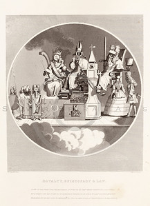 Vintage 1800s Sepia Illustration of Mechanical Royalty steel engraving print from The Works of William Hogarth by John Nicols.  The natural patina, age-toning, imperfections, and old paper antiquing of this vintage 19th century illustration are preserved in this image.