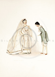 Vintage 1800s Color Illustration of Victorian Dolls - QUEEN VICTORIA'S DOLLS by Francis Low.