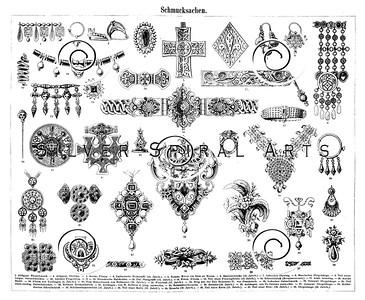 Vintage Jewelry Illustration - 1800s Jewels Images.