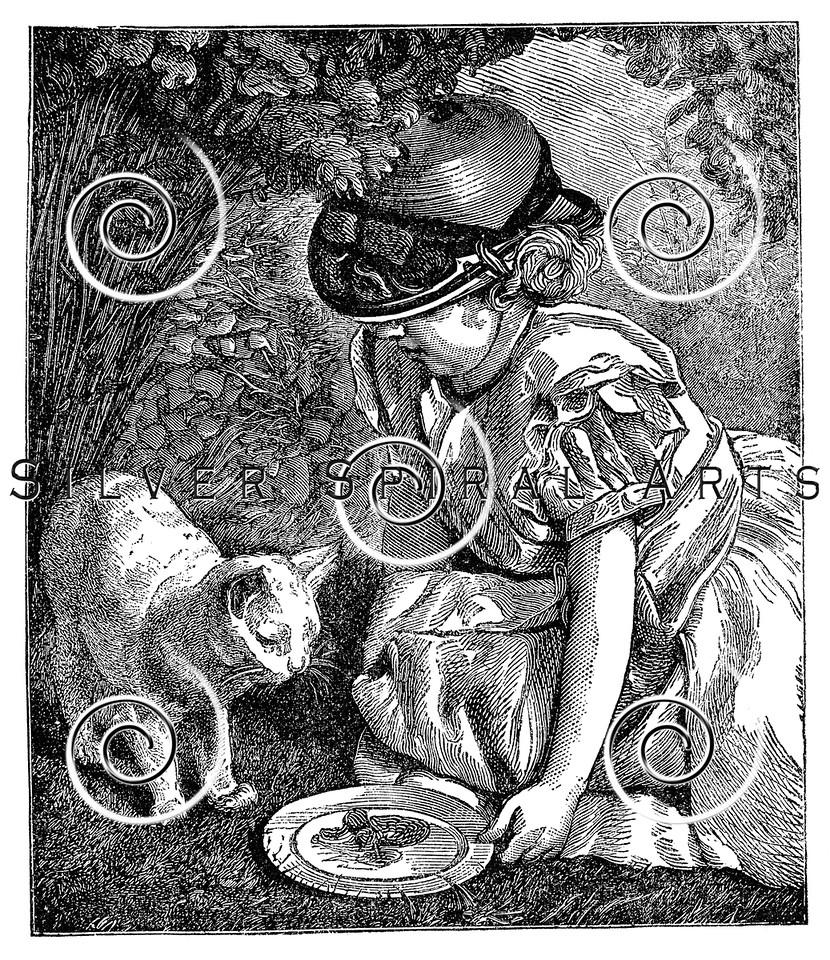 Vintage Victorian Girl with Cat Children's Illustration - 1800s Child Images.