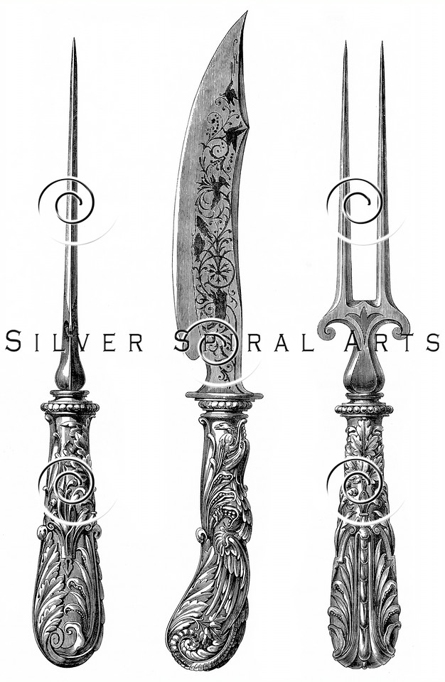 Vintage Knife Fork Pick Illustration - 1800s Silverware Images.