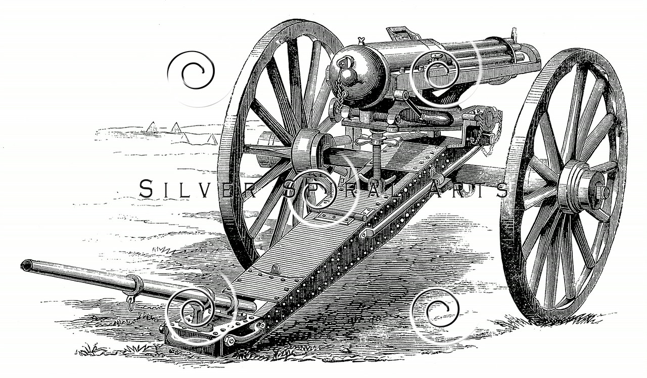 Vintage 1800s Sepia Illustration of Machine Guns.  The natural patina, age-toning, imperfections, and old paper antiquing of this vintage 19th century illustration are preserved in this image.