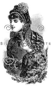Vintage Victorian Women's Fashion Illustration - 1800s Dress Hat Cap Images.