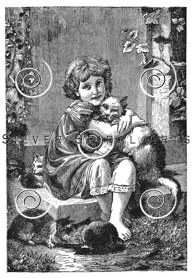 Vintage Victorian Girl with Cat Children's Illustration - 1800s Girls Images.