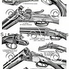 Vintage illustration of Hunting Rifles from Meyers Konversations Lexikon 1913 Encyclopedia. Antique digital download of old print - rifles; gun; guns; weapon; steampunk; mechanical; shot; hunting; hunt.  The natural age-toning, paper stains, and antique printing imperfections are preserved in this 1900s stock image.