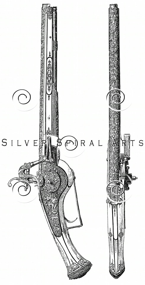 Vintage illustration of Embellished Guns and Pistols, c1800s.  The natural age-toning, paper stains, and antique printing imperfections are preserved in this 1800s vintage stock image.