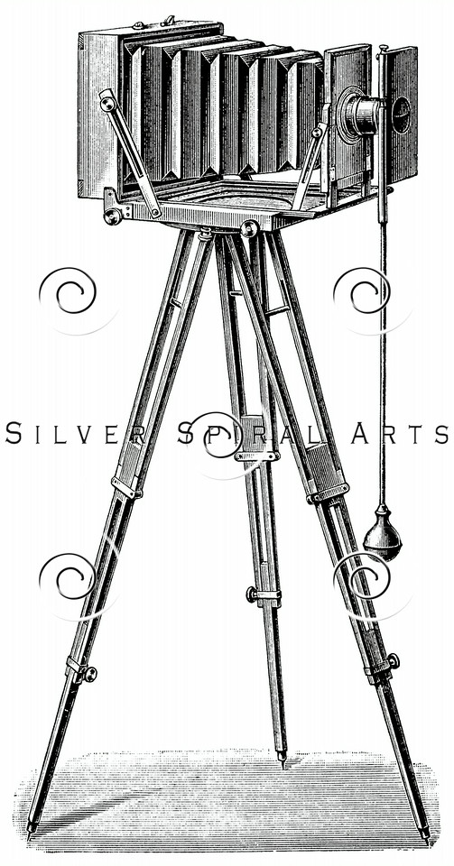 Vintage Camera Tripod Illustration - 1800s Photography Images.