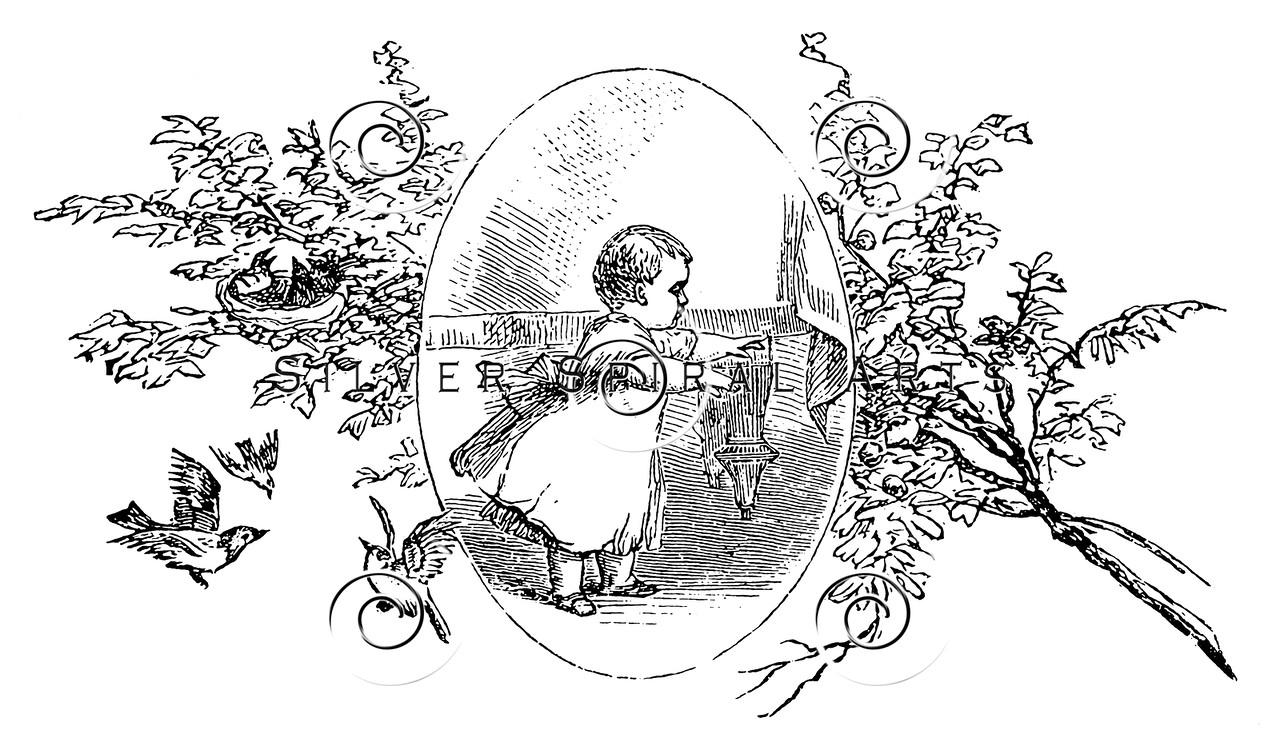 Vintage Baby Children's Illustration - 1800s Floral Frame Images.