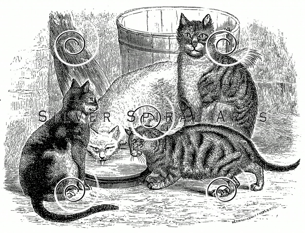 Vintage Cats in Barn Illustration - 1800s Cat Images