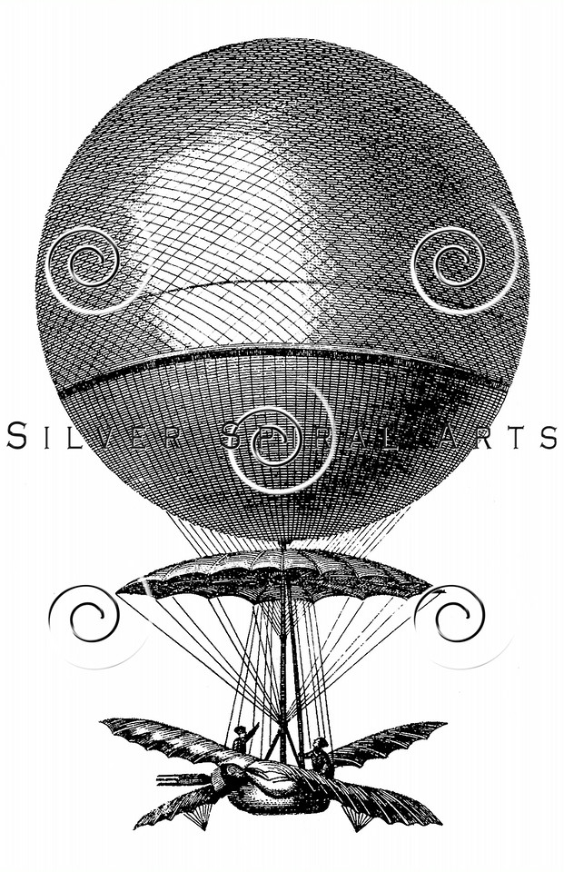 Vintage 1800s Steel Engraving Hot Air Balloon Steampunk Aerostation Print from from THE ENCYCLOPEDIA BRITANNICA.  The natural patina, age-toning, imperfections, and old paper antiquing of this vintage 19th century illustration are preserved in this image.
