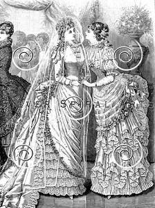 Vintage Victorian Women's Fashion Illustration - 1800s Wedding Dress Images.