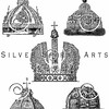 Vintage illustration of Russian Crowns and Tiaras from ENCYCLOPEDIA OF COSTUME by James Planche, 1876. The natural age-toning, paper stains, and antique printing imperfections are preserved in this 1800s vintage stock image.