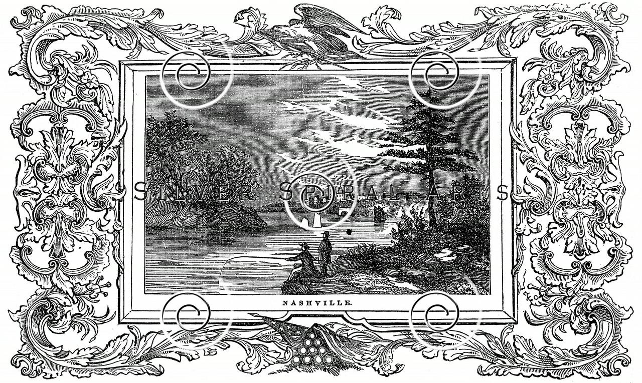 Vintage Nashville Illustration - 1800s Landscape with Frame Images.