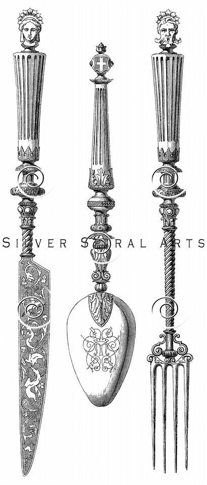 Vintage Knife Fork Spoon Illustration - 1800s Silverware Images.