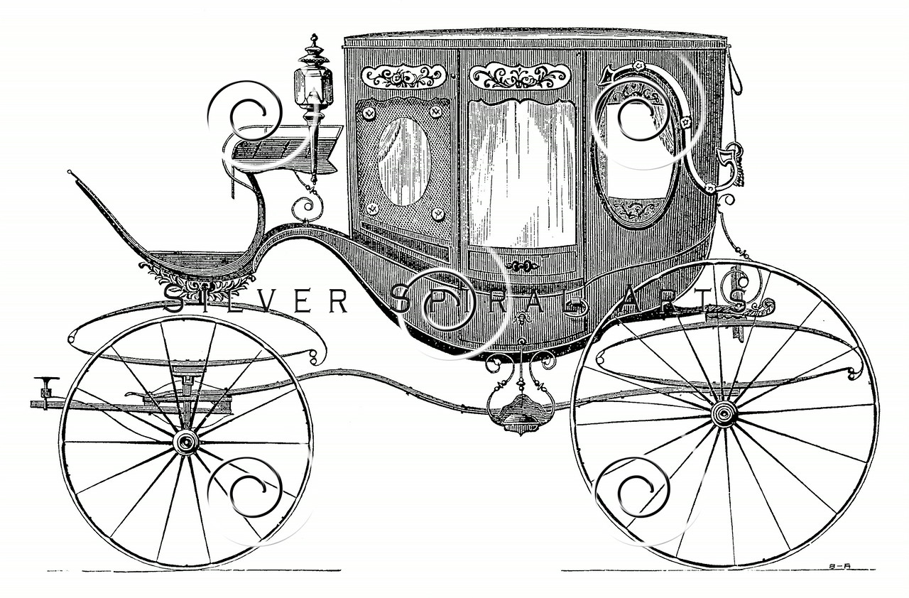 Vintage 1800s Sepia Illustration of Carriage print from ILLUSTRATED CATALOGUE OF CARRIAGES.  The natural patina, age-toning, imperfections, and old paper antiquing of this vintage 19th century illustration are preserved in this image.