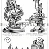 Vintage illustration of Microscope Diagrams from Meyers Konversations Lexikon 1913 Encyclopedia. Antique digital download of old print - microscope; science; scientific; tool; mechanical; diagram; steampunk.  The natural age-toning, paper stains, and antique printing imperfections are preserved in this 1900s stock image.