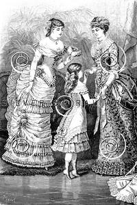 Vintage Victorian Women's Fashion Illustration - 1800s Dress Gown Images.