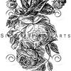 Vintage Rose Bouquet Illustration Retro 1800s Floral Roses