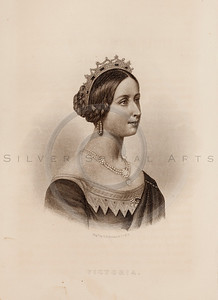 Vintage illustration of Queen Victoria Portrait from Eminent Women of the Age by Horace Greeley, 1869.  The natural age-toning, paper stains, and antique printing imperfections are preserved in this 1800s vintage stock image.