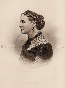 Vintage illustration of Ristori Portrait from Eminent Women of the Age by Horace Greeley, 1869.  The natural age-toning, paper stains, and antique printing imperfections are preserved in this 1800s vintage stock image.