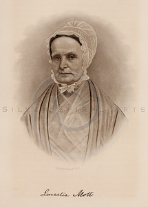 Vintage illustration of Lucretia Mott Portrait from Eminent Women of the Age by Horace Greeley, 1869.  The natural age-toning, paper stains, and antique printing imperfections are preserved in this 1800s vintage stock image.