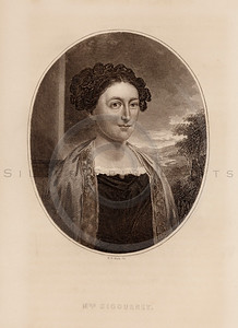 Vintage illustration of Sigourney Portrait from Eminent Women of the Age by Horace Greeley, 1869.  The natural age-toning, paper stains, and antique printing imperfections are preserved in this 1800s vintage stock image.