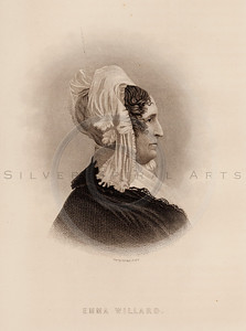 Vintage illustration of Emma Willard Portrait from Eminent Women of the Age by Horace Greeley, 1869.  The natural age-toning, paper stains, and antique printing imperfections are preserved in this 1800s vintage stock image.