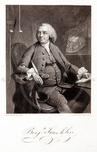 Vintage 1800s Engraving Illustration of Benjamin Franklin portrait from THE HISTORY OF THE UNITED STATES by George Bankcroft.  The natural patina, age-toning, imperfections, and old paper antiquing of this vintage 19th century illustration are preserved in this image.